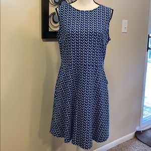 Fit and flare blue and black sleeveless dress